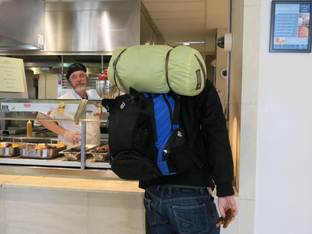 Riel, the wandering vagabond, surveys his options at the Usdan grill. Photo by Rachel Pincus '13.