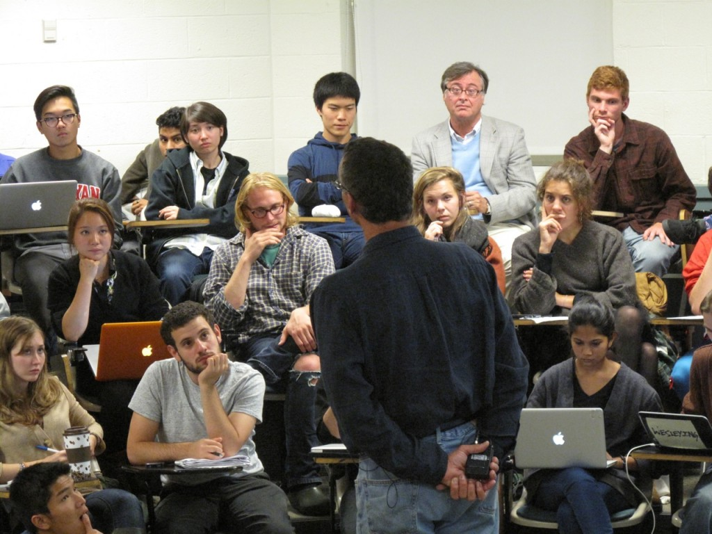 Pictured: Roth answers student questions regarding need-blind at a forum in September.