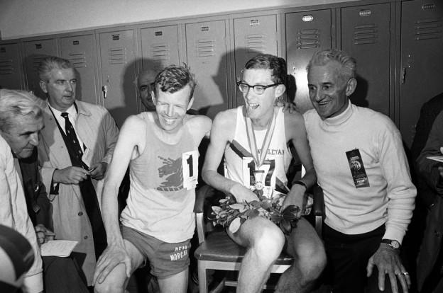 Amby Burfoot, dressed in his Wesleyan apparel, after winning the 1968 Boston Marathon.