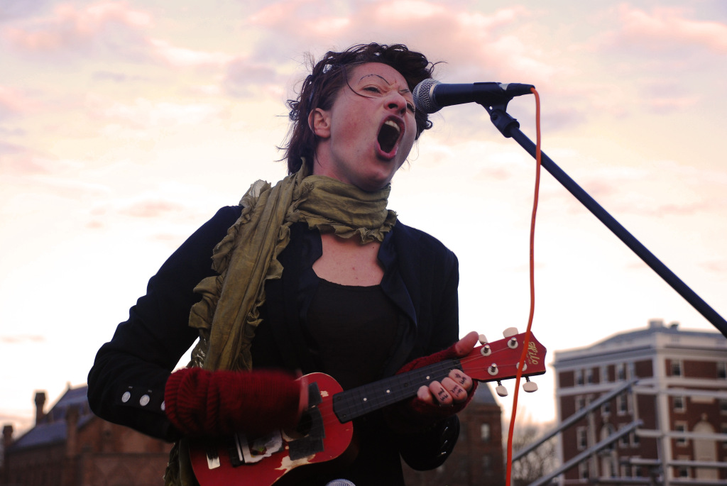 """Wesleying's own Gabe took this ridiculously excellent shot of Amanda Palmer at last weekend's """"Humanity Festival."""" Click for the full gallery."""