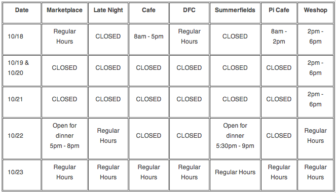 dining hrs!