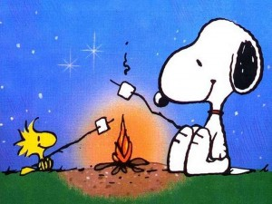 snoopy woodstock campfire