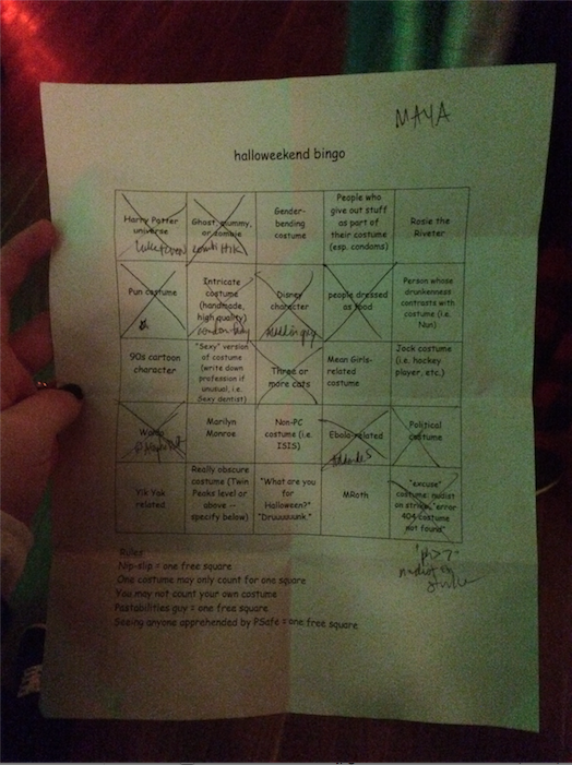 """this was my bingo sheet from 2014. i found a """"nudist on strike"""" and they had just taped a sign saying 'nudist on strike' to their clothes and i was sad for them"""